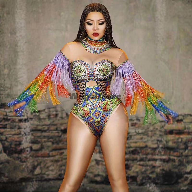 New Women Colorful Rhinestones Tassel Leotard Costume Birthday Prom Celebrate Outfit Bar Evening Women Dancer Bodysuit