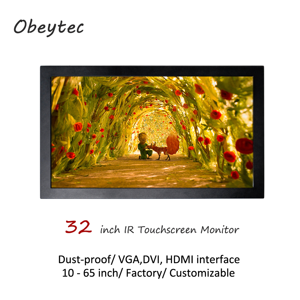 Obeytec <font><b>32inch</b></font> wall mounted touch <font><b>monitor</b></font>, IR touchscreen, 350cd/m2, 1920*1080, view area 698.4(H)×392.85(V) mm, dust proof image