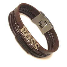Bracelet Charm Braided Multilayer Lucky Vintage Men's Black/brown Women Pulseira Masculina