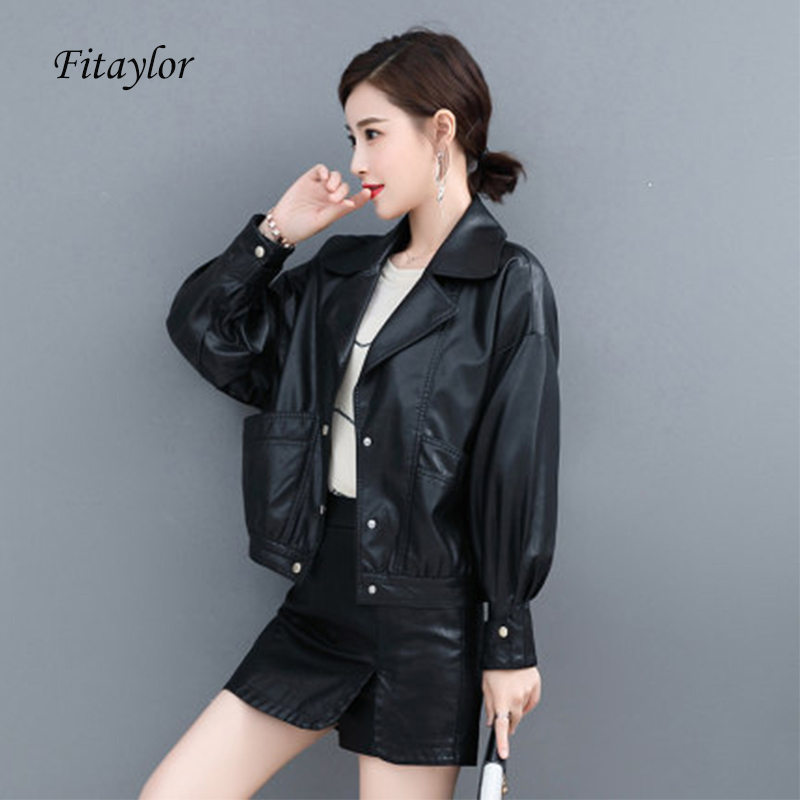 Fitaylor Spring Women Faux Leather Vintage Short Motor Jackets White Black Yellow Turndown Collar Single Breasted Biker Jacket