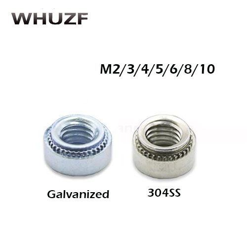 Free shipping M2/3/4/5 -<font><b>1/2</b></font>/ 100pcs Galvanized 304 stainless steel pem self-clinching <font><b>nut</b></font> for CNC spare part China manufacturing image