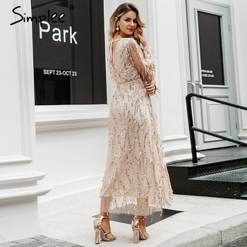 Simplee Sexy v-neck evening women maxi dress Elegant mesh long sleeve sequin night dress autumn lady plus size party dress 2019 4