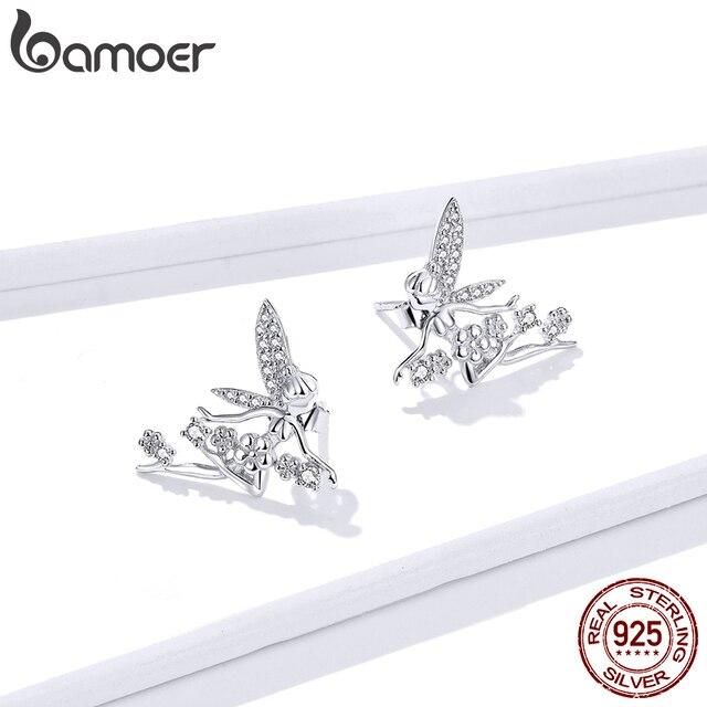Bamoer GAE341 prawdziwe 925 Sterling Silver Flying Flower Elf stadniny kolczyki błyszczące cyrkonie dziewczyna kobiety hipoalergiczne biżuteria prezenty