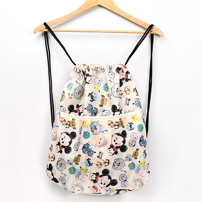 Disney Cartoon Diaper Bag Waterproof Mickey Printing Drawstring Backpack Folding Portable Travel Bag