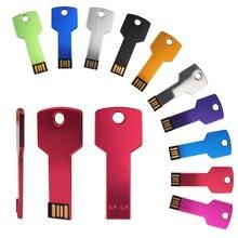 실제 용량 금속 키 USB 플래시 드라이브 메모리 스틱 32 기가 바이트 128 메가 바이트 1 기가 바이트 4 기가 바이트 64 기가 바이트 Pendrive 저장 장치 선물 (10pcs 로고 무료 이상)