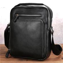 Маленькая мужская сумка мессенджер из натуральной кожи черная