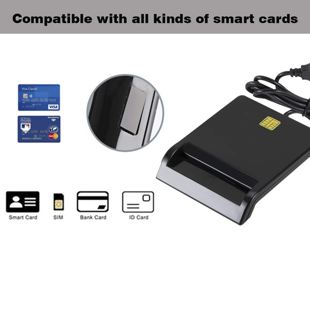 USB Smart Card Reader For DNIE ATM CAC IC ID Bank Card SIM Card Reader Cloner Connector for Windows Linux for  Android Phone 2