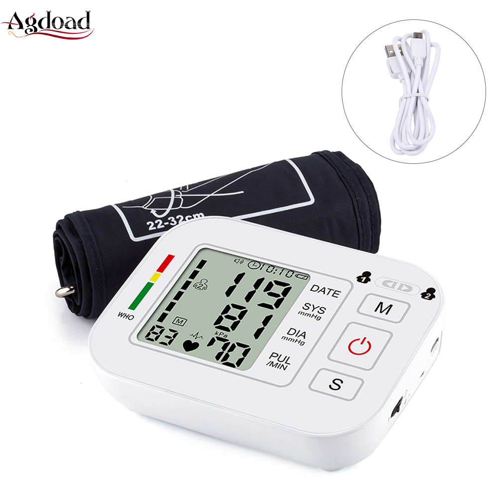 Tonometer Arm-Blood-Pressure-Monitor Heart-Beat-Rate Digital Automatic Upper Usb-Charging