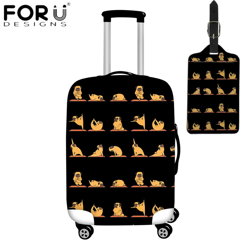 FORUDESIGNS Cartoon Pug Yoga Print 2pcs Luggage Cover Suitcase Protective Covers For 18-32 Inch Trunk Case Travel Accessories