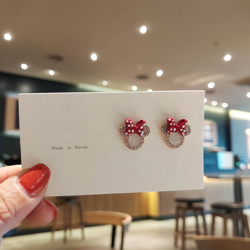 Silver-plated Mickey Stud Ears With Mouse 2020 Chinese Style Cute Romantic Gift For Girl Accessories Earrings