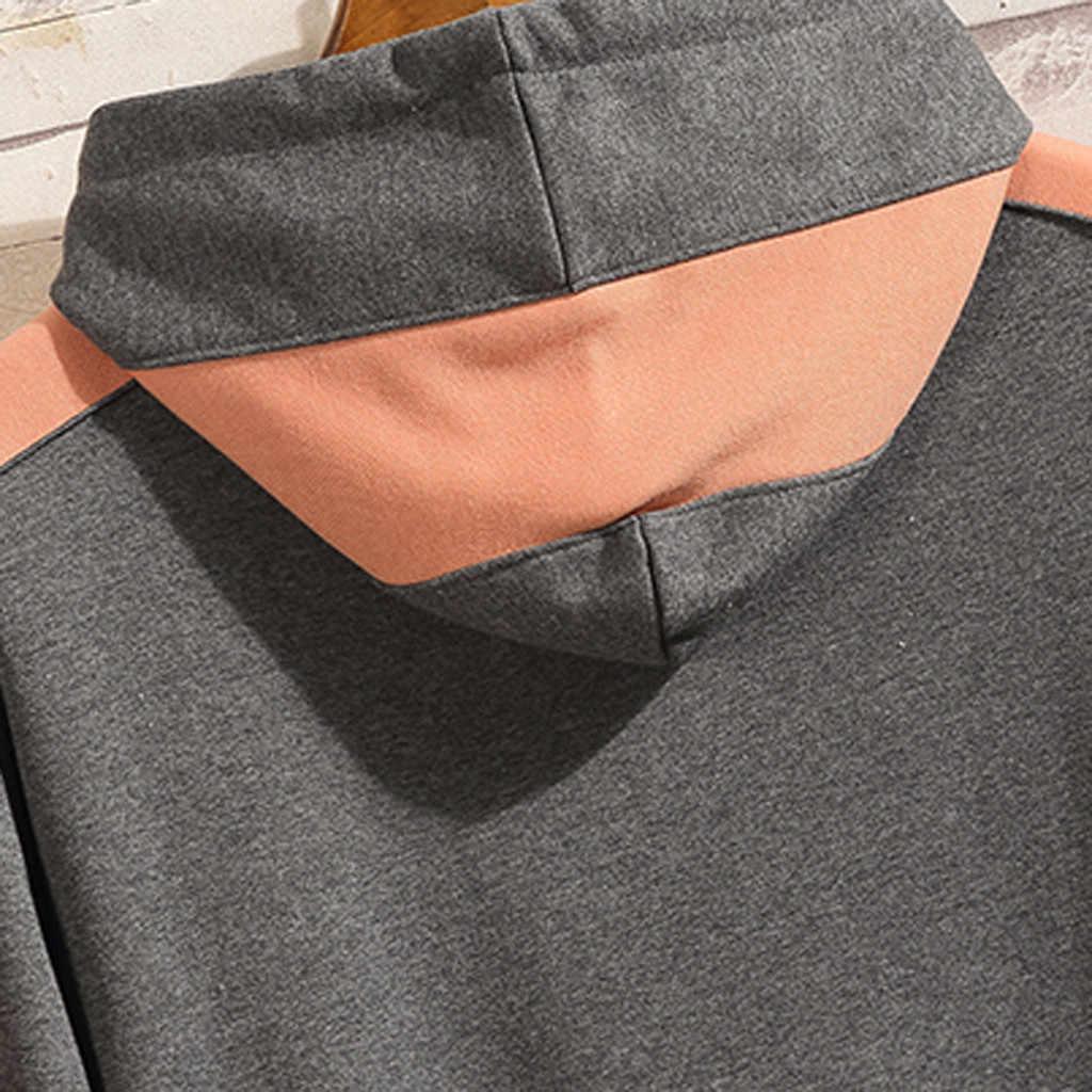 Sudadera Cool para hombre Hip Hop patchwork de manga larga pulóver con capucha con contraste Sudadera con capucha hombres de alta calidad Dropshipping
