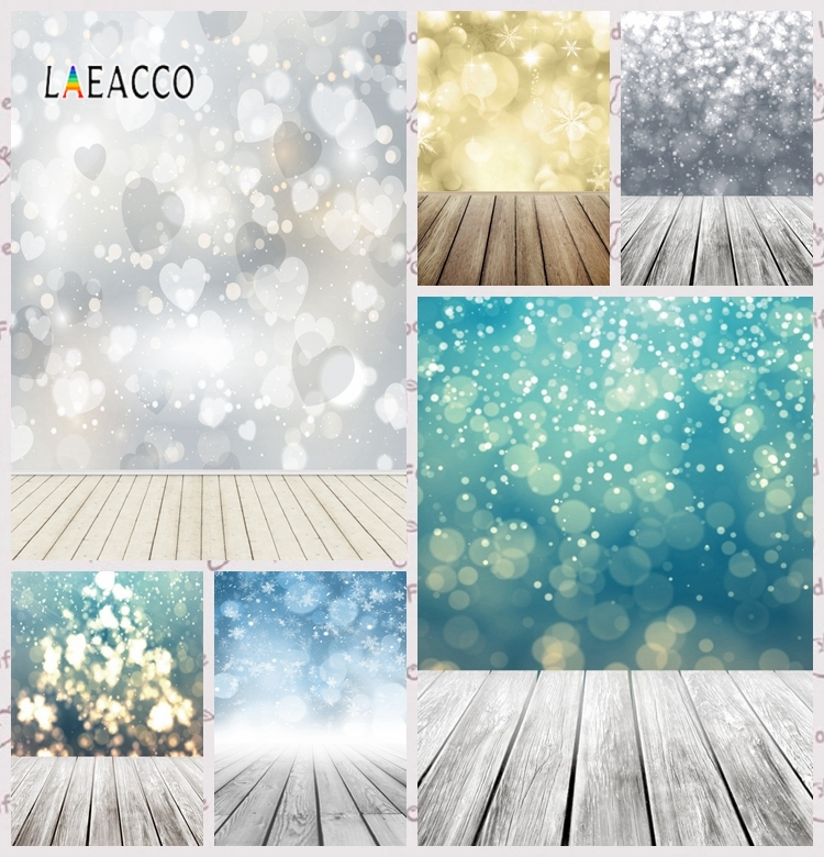 Laeacco Dreamy Light Bokeh Heart Wooden Floor Baby Portrait Photography Background Spring Photography Backdrops For Photo Studio