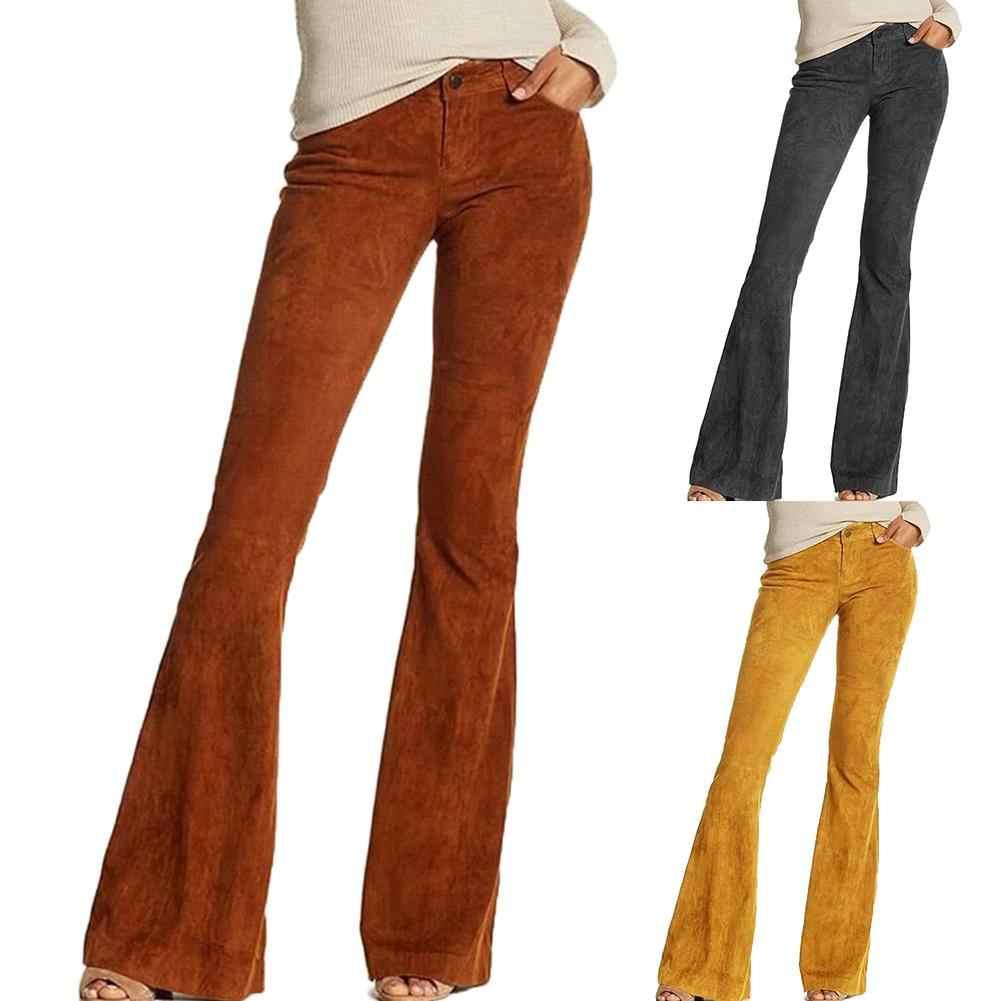 Vrouwen Retro Casual Hoge Taille Effen Kleur Wijde Pijpen Broek Bell-Bottom Broek Fashion Lady Bell-Bottoms Flare Broek Vrouwelijke broek