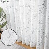 Cortinas de tul transparentes lirio elegante para sala de estar, dormitorio, cocina, ventana de decoración del hogar