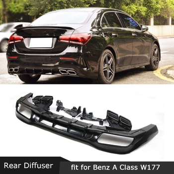 For Mercedes Benz A Class W177 A35 2019 2020 Rear Lip Diffuser PP Fins Shark Style Skid Plate Stainless Steel Exhaust Tip