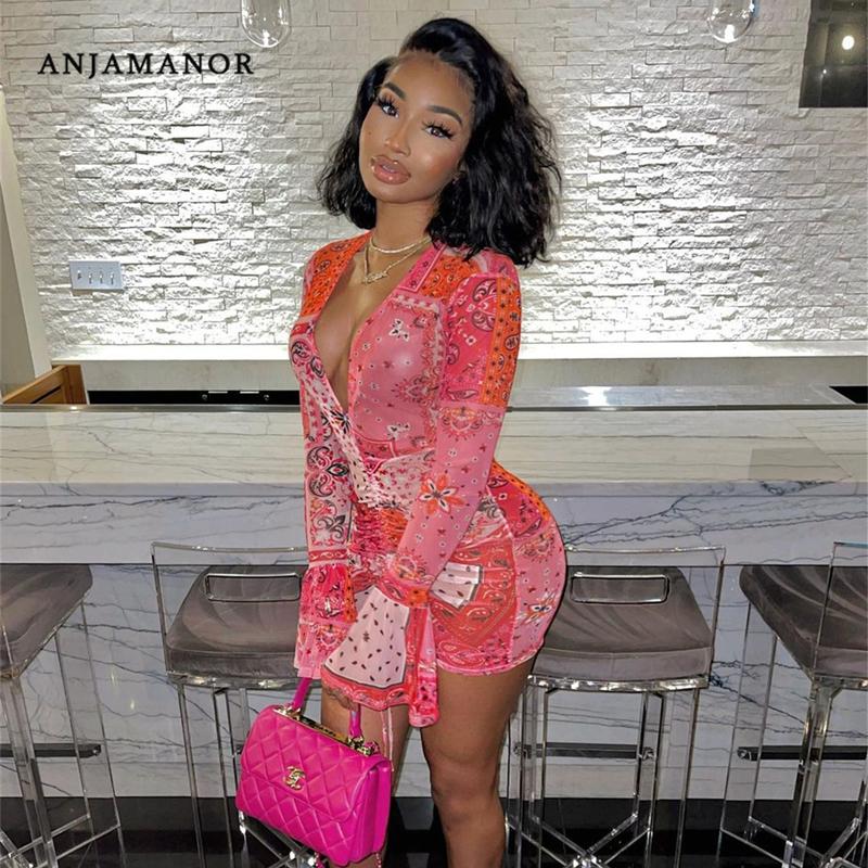 ANJAMANOR Pink Bandana Mesh Bodyocn Dress Club Outfits for Women Flared Long Sleeve Deep V Neck Draw String Mini Dress D85 BE12
