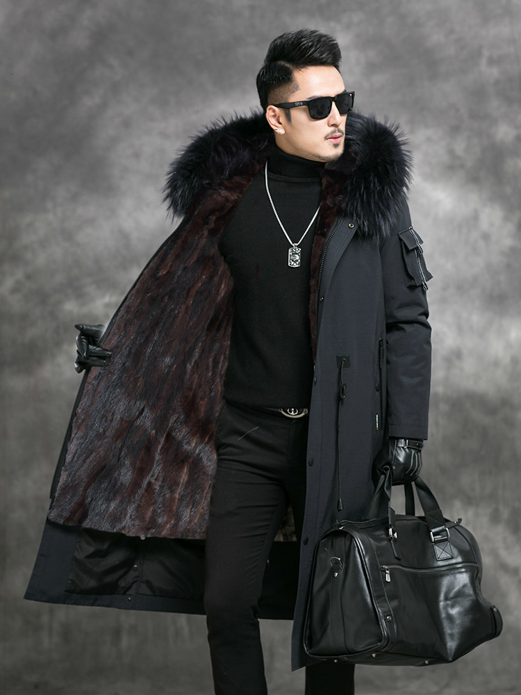 Long Winter Parka Real Fur Coat Men Warm Jacket Mink Fur Liner Raccoon Fur Collar Parkas Hombre 2020 4528 KJ3021