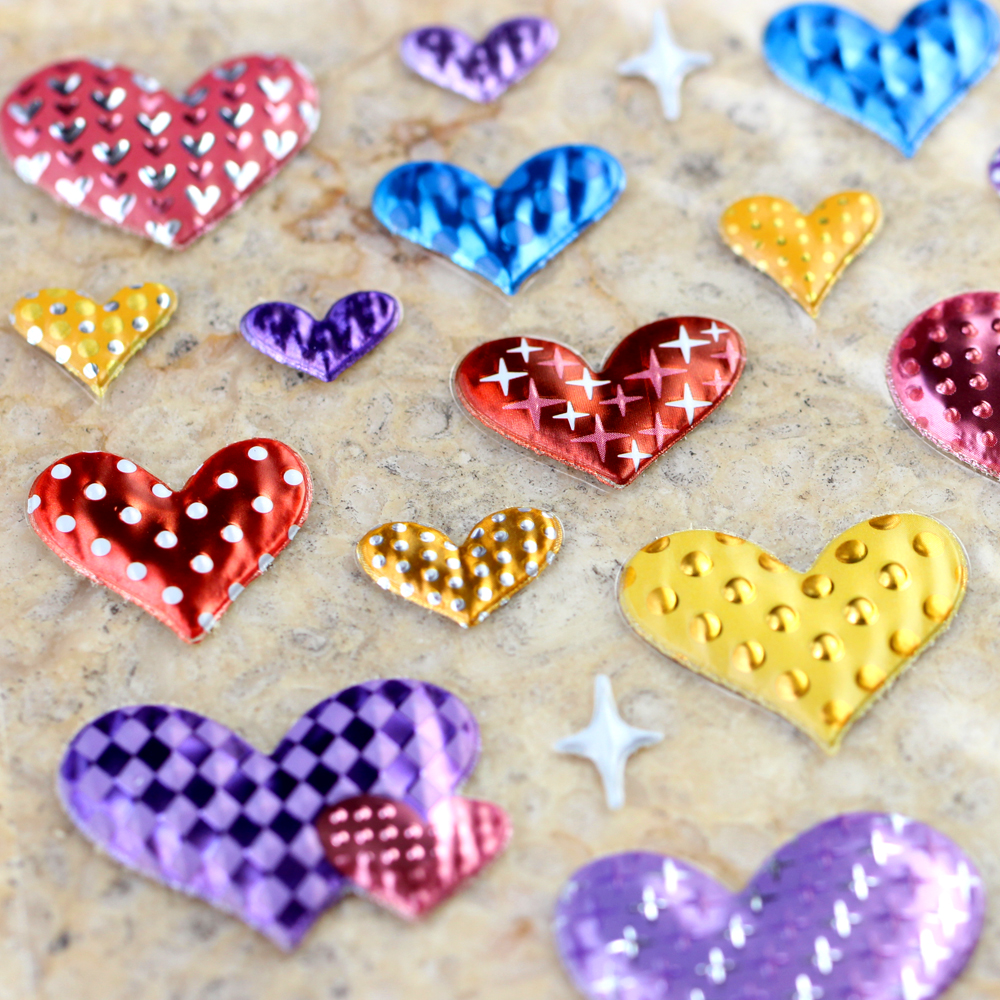 High Quality Gifts Reward Kids Children Heart Shape Speckle Spot Twill Scrapbooking Shiny Sparkle Undulate Bubble Puffy Stickers