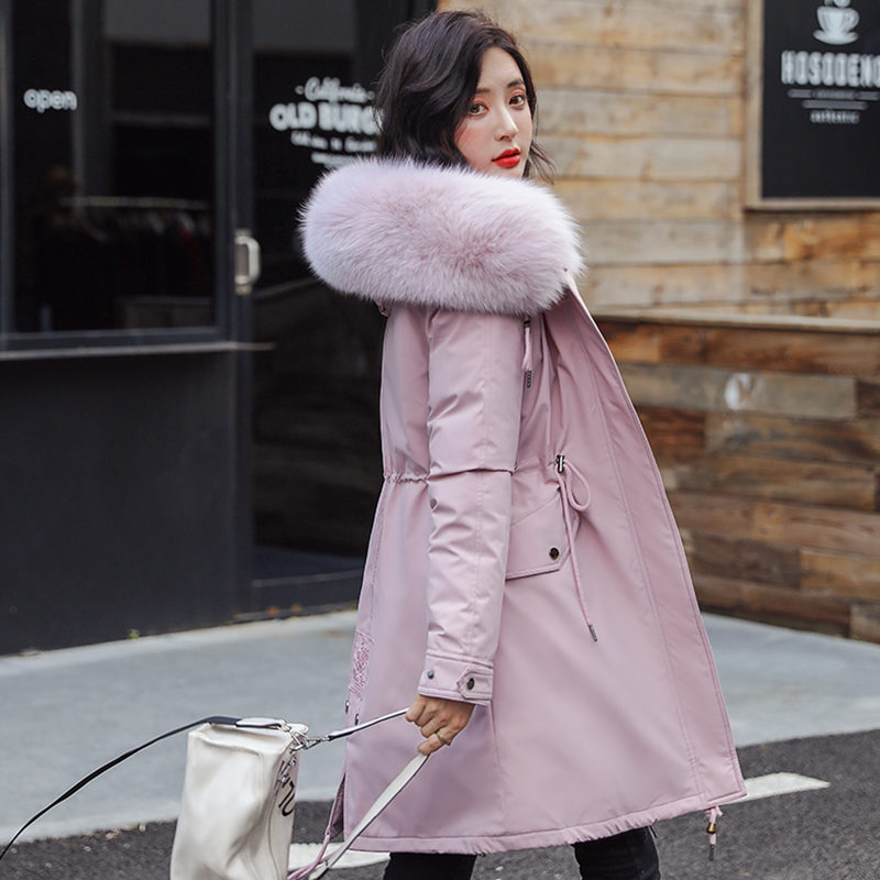 Women's Winter Thicken Faux fur Collar   Parkas   Coat Warm Cotton Padded Long Jacket Female 2019 Embroidery Military   Parkas   Woman