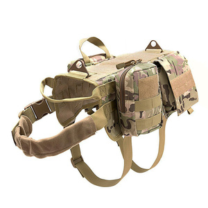 Image 2 - Fashion Tactical Dog Training Molle Vest Harness Pet Vest with Detachable Pouches Military K9 Harness For Medium Large Dogs JY