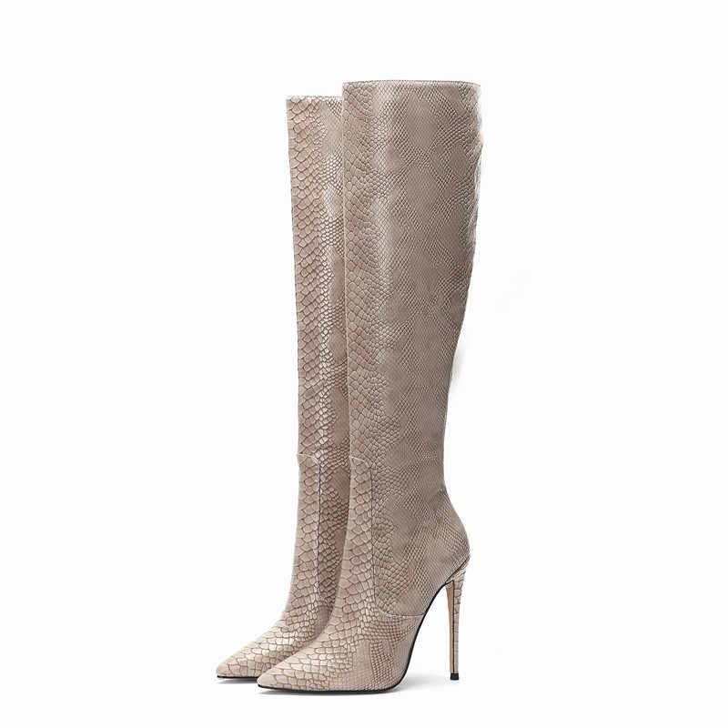 Da Rắn Đầu Gối Cao Giày Nữ Dập Nổi Mỏng Gót Mùa Đông Cho Nữ Lông Giày Size Lớn 45 Gợi Cảm Mùa Xuân, Mùa Thu đi Giày