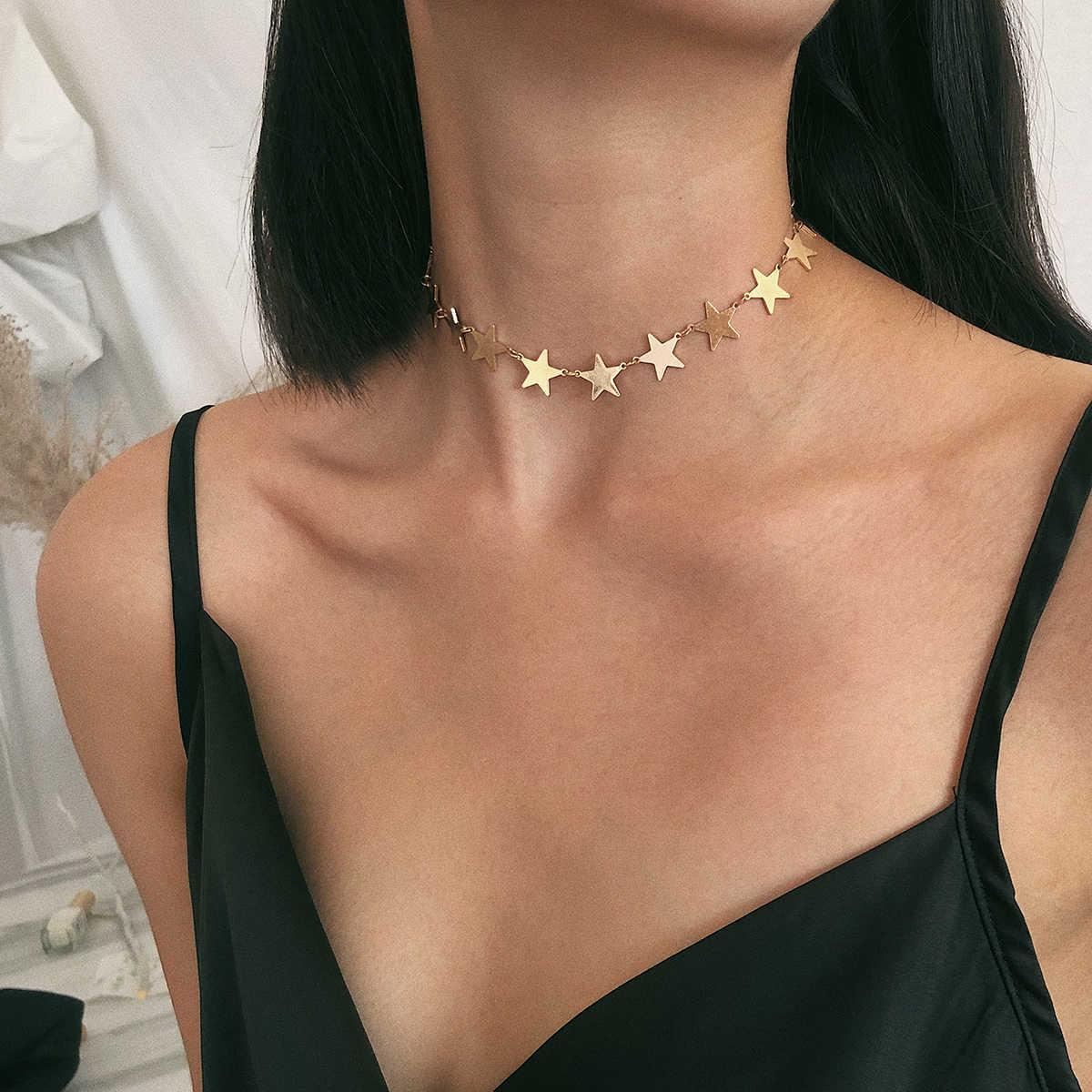 IngeSight. Z coréen mignon cuivre étoile collier ras du cou collier pour les femmes déclaration Simple minimaliste clavicule chaîne collier bijoux