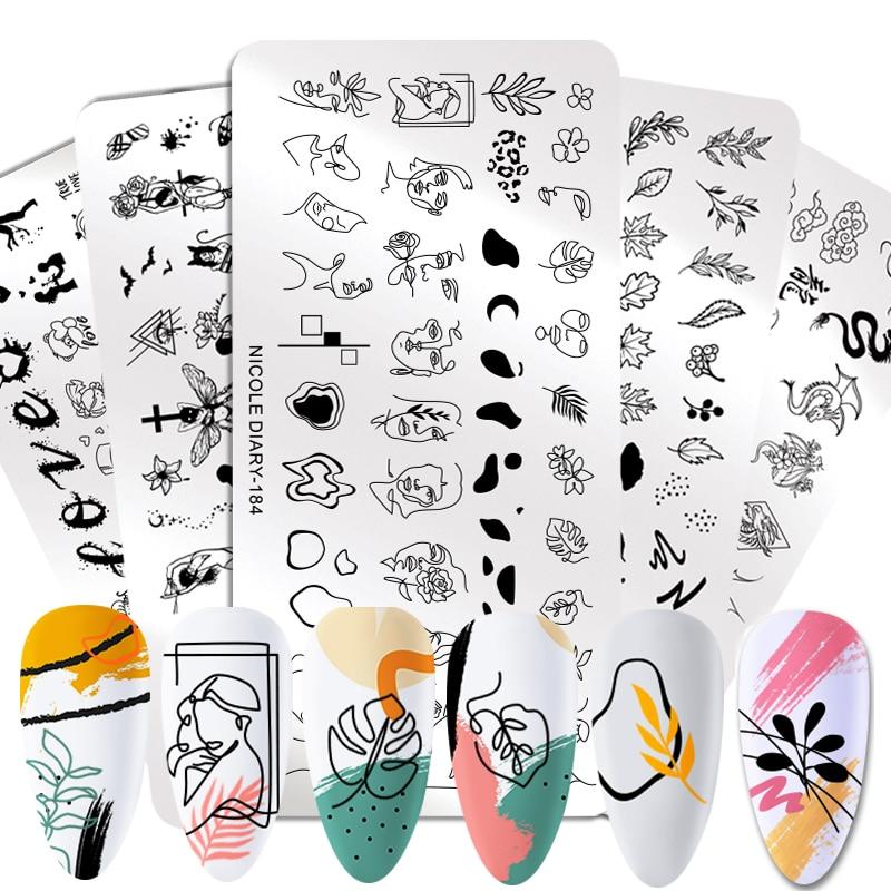 Трафареты NICOLE DIARY для стемпинга ногтей, инструменты для геометрической печати, мраморные шаблоны для штампов