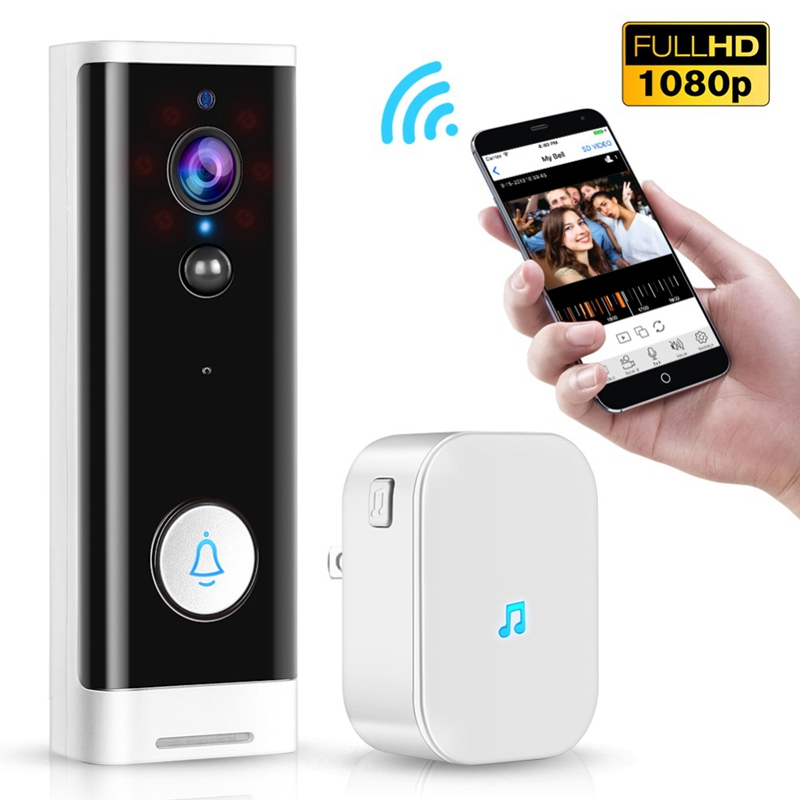 1080P Wireless WiFi Doorbell PIR Monitor 2-Way Intercom Camera Video Work With Tuya Smart Life Door Bell+DingDong EU Plug