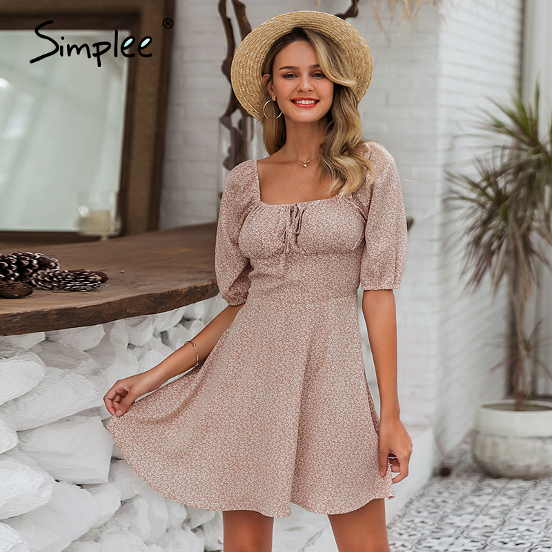 Simplee Elegant square collar summer chiffon dresses Casual beach women vintage ruffles boho dress robe femme dresses vestidos