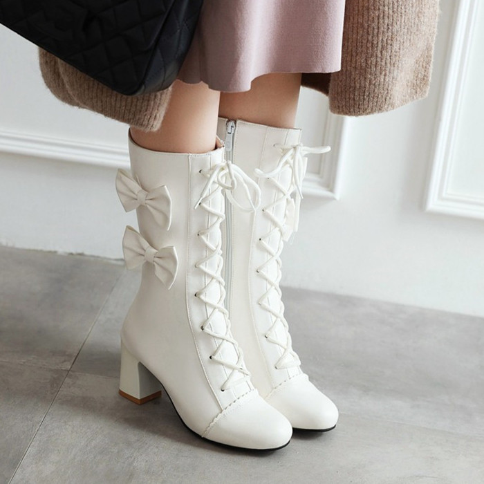 Womens Shiny Pull On Chunky Heel Platform Warm Block Shoes Mid Calf Casual Boots
