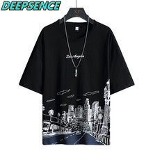 2021 moda casual curto t camisa primavera verão homem dos desenhos animados alta rua streetwear o pescoço solto ajuste t camisas topos