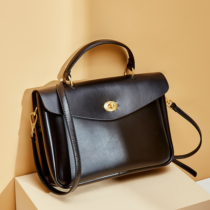 100% Genuine Leather Office Lady Briefcase Bag Fashion Women Tote Handbag Classic Black Luxury Crossbody Shoulder Bags