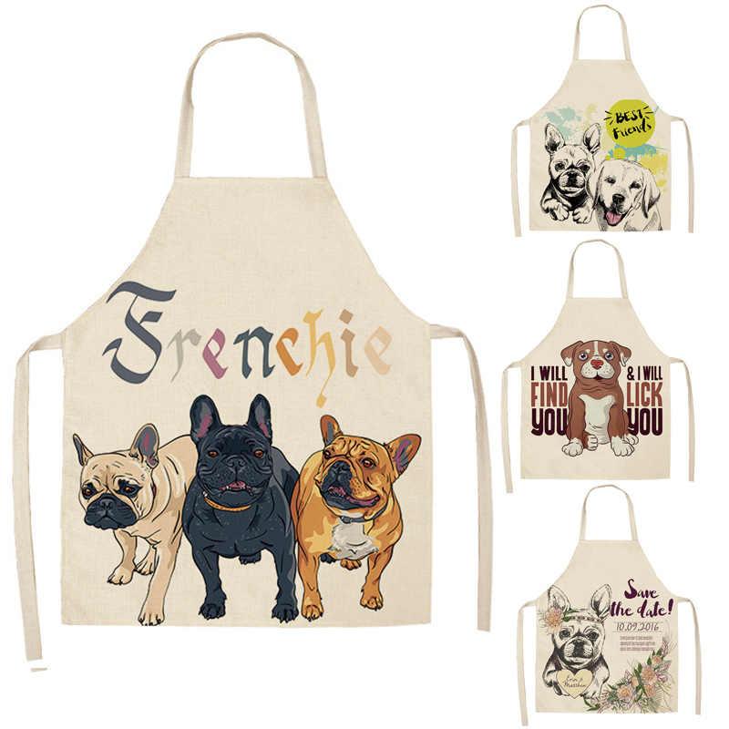 Moderno minimalista lindo patrón de dibujos animados perro delantal algodón y Material de lino es refrescante y fácil de llevar