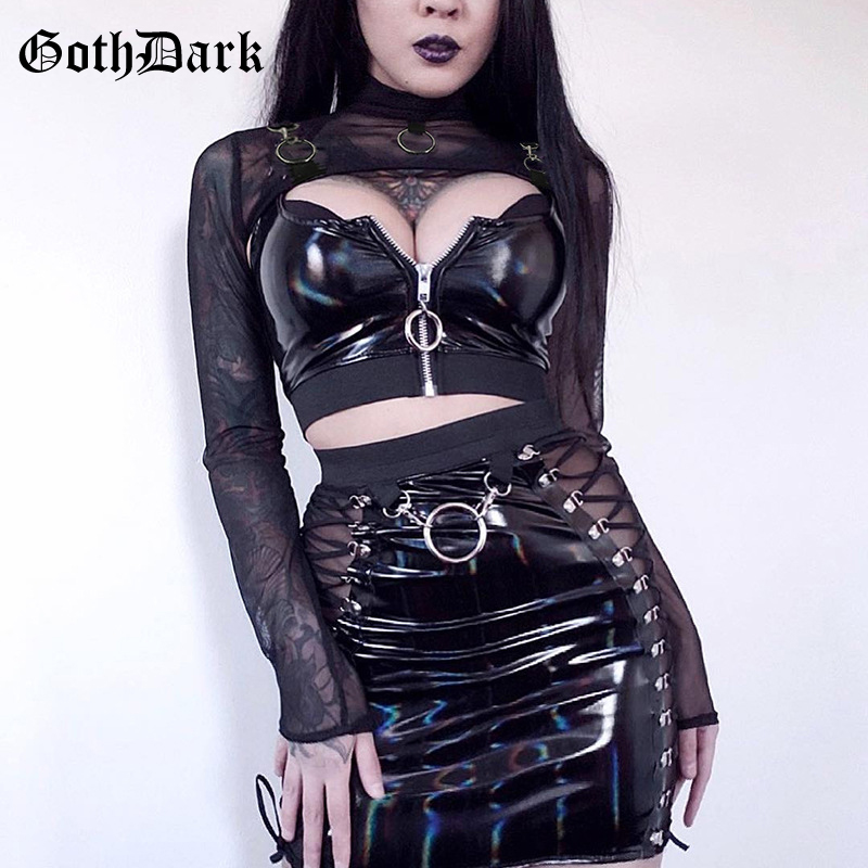 Goth Dark Black Mesh Vintage Gothic T-shirts Women Harajuku Aesthetic Metal Ring Hollow Out Fall 2019 Female Tshirt Transparent