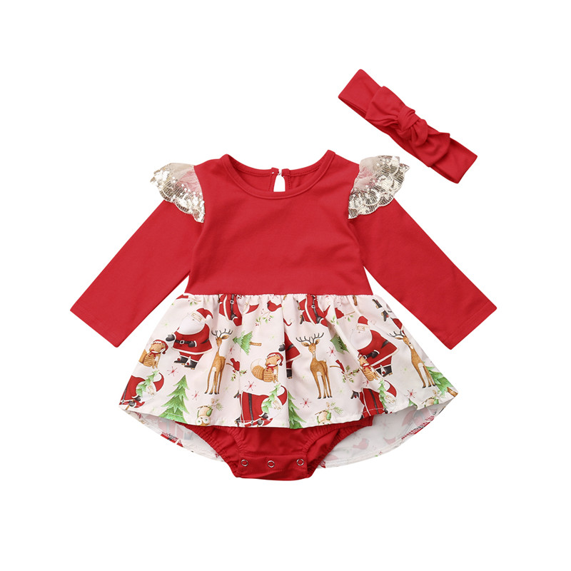 Christmas Kids Baby Girls Tutu Lace Dress   Rompers   Headband Set Elk Deer Long Sleeve Jumpsuit Outfits Set