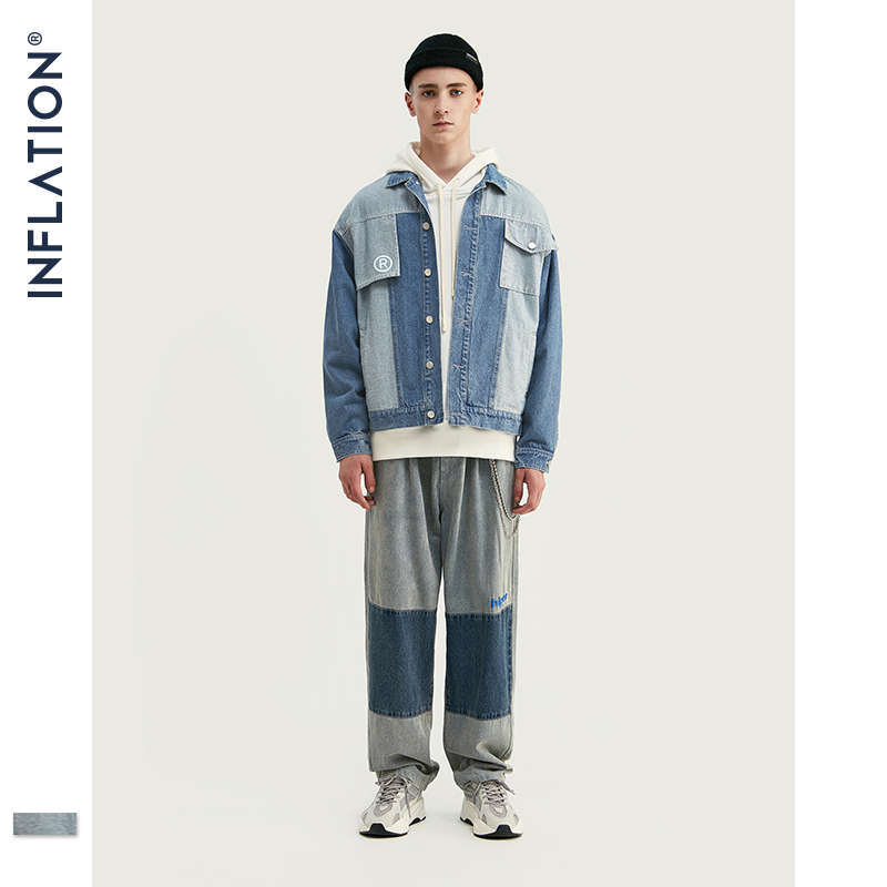 INFLATION Denim Men Suit FW Fashion Men Blazer Jeans Suit Loose Fit Outwear Denim Men Suit In Blue Casual Denim Men Suit