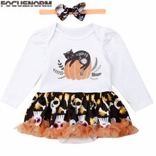 2019 Baby Autumn Clothing Halloween Baby Girls Ghost Pumpkin Fancy Dress Party Tutu Romper Dress+Headband 2Pcs Outfit 0-24M(China)