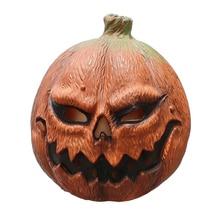 Halloween Pumpkin Cosplay Mask Deluxe Novelty Costume Party Props Horror Evil Latex Head
