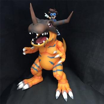 Japan Anime Digital Monster Greymon & Taichi Yagami Figure Toys 28.5cm