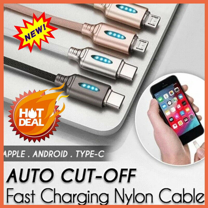 Fast Charge Intelligent Shutdown Data Line with Light Led Automatic Power Off Protection for Wholesale Mobile Phone Type-c Cable
