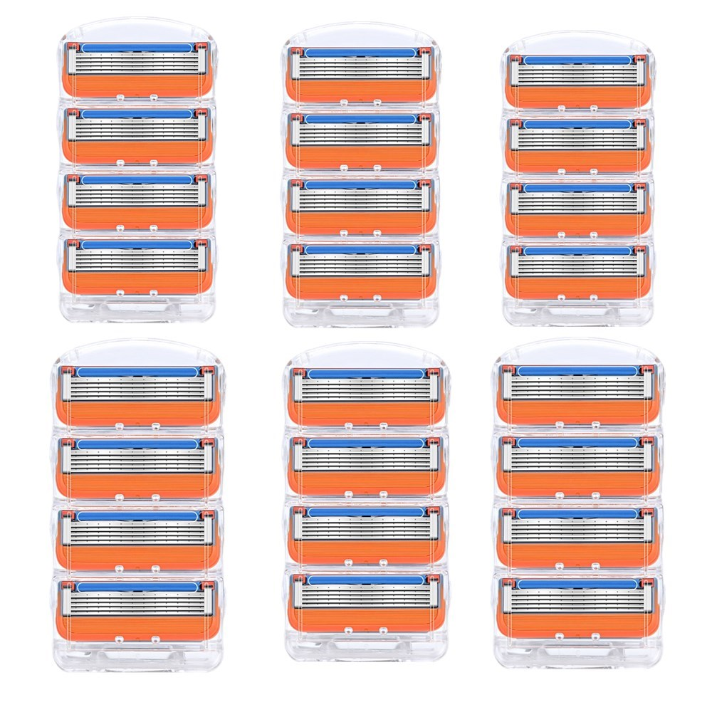 24pcs/BOX Fusion 5 Razor Blades Replaceable Blade 5 Layers Stainless Steel Men Face Care Straight Razor