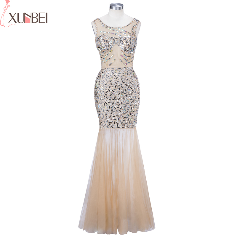 In Stock Backless Evening Dress Scoop Mermaid Sequined Tulle Prom Dress Sleeveless Prom Dress Long Evening Formal Party Gowns
