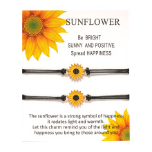 Sunflower Charm Wish Card Adjustable Bracelets Best Friends Forever Lover Women Girl Couple Fashion Jewelry Drop Shipping my best friend forever hope faith love charm card bracelets gray brown blue wax cords women men girl jewelry christmas gift