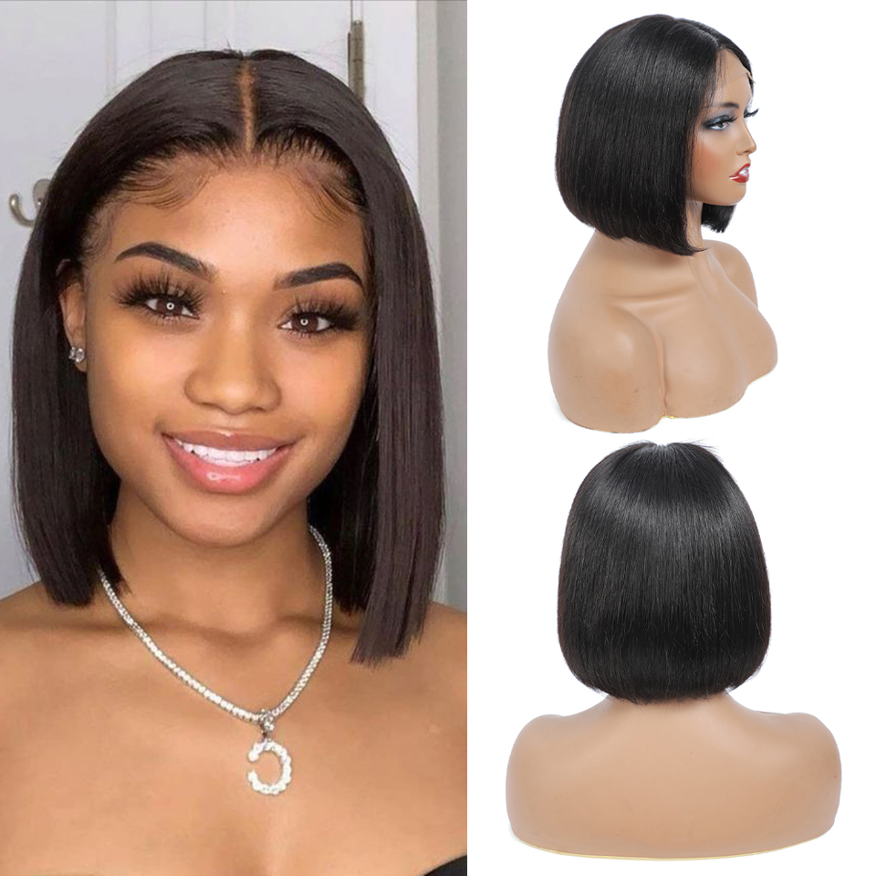 180 density 4x4 bob wig lace front human hair wigs pre plucked short  straight Frontal Wigs For black women 1