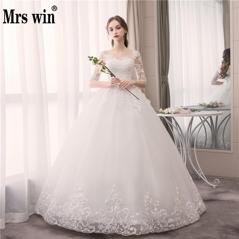 Wedding Dress 2019 New Mrs Win Half Sleeve Lace Up Ball Gown Princess Luxury Appliques Wedding