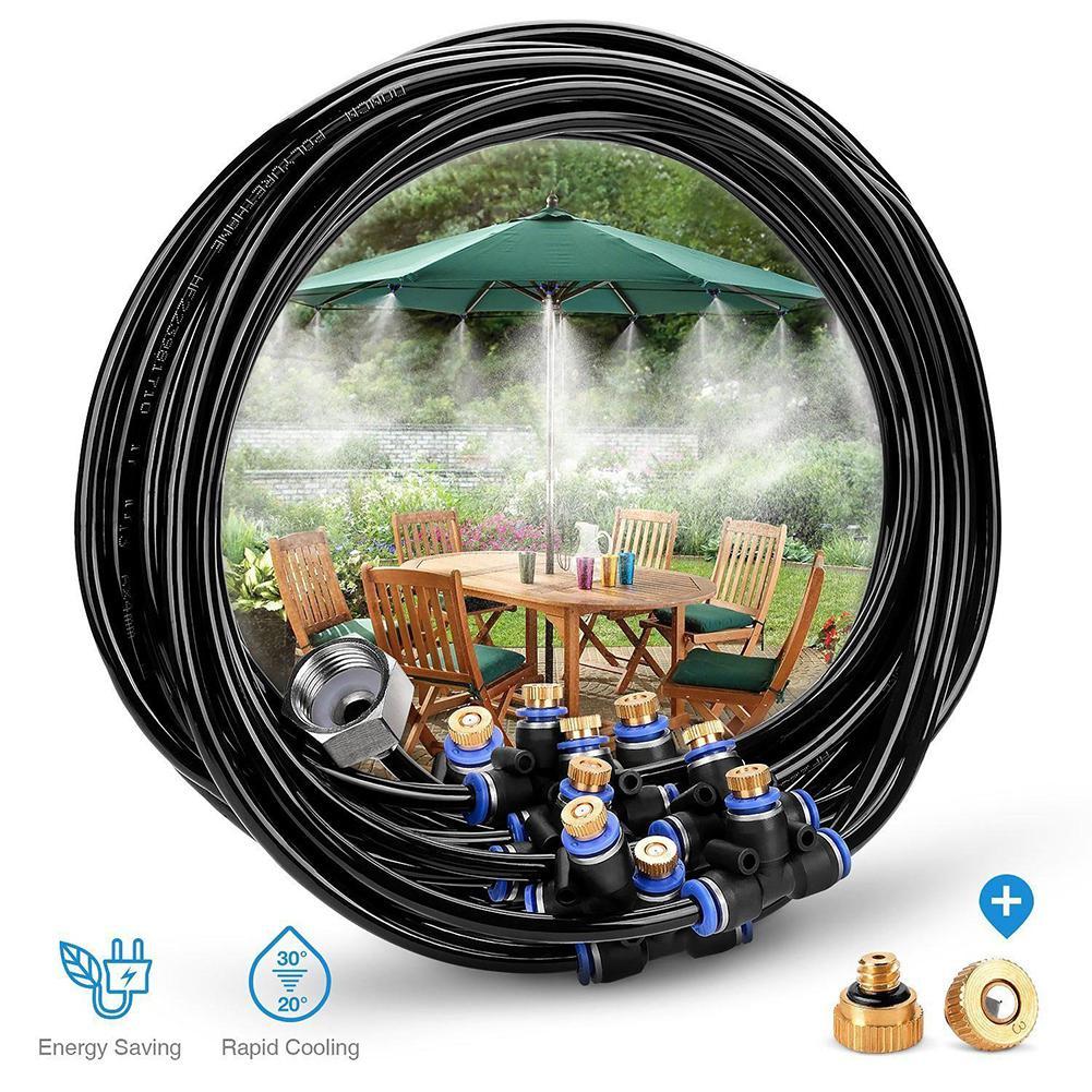 8M Outdoor Beschlagen Kühlsystem 9 Spray Düsen + Messing Adapter (3/4) für Hof Trampolin Garten Zerstäubung Bewässerung spray