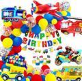 Украшение на день рождения для мальчиков, баннер на день рождения, автомобили, школьный автобус, поезд, пожарная машина, мотоцикл, самолет, в...