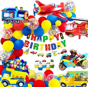 Birthday Decoration for boys Happy Birthday Banner Cars School Bus Train Fire Truck Motorcycle Plane Balloons Transport Vehicles double decker bus london bus design car toys sightseeing bus vehicles urban transport vehicles commuter vehicles