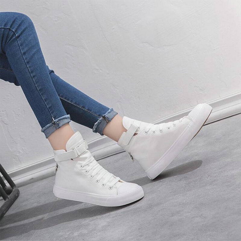 New Women Shoes High-top Comfortable fashion Sneakers Women Outdoor Casual Breathable Lace up all black Canvas Shoes 456