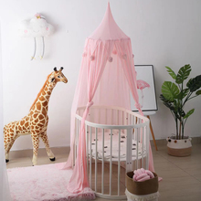 Children's Home Mosquito Net Cozy Hair Ball Summer Baby Bed Curtain Game House Tent Pink/White Crib Netting